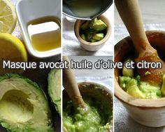 Masque hydratant pour le visage à l'avocat, citron et huile d'olive