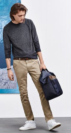 Jacket, t-shirt, beige trousers, white shoes and bag by BOSS Orange