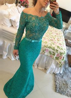 Lace Prom Dresses with Beading,Mermaid Prom Dress,Sexy Formal Dresses,Dark Green…
