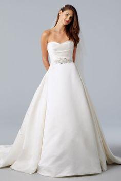 Fancy ball gown sleeveless satin wedding dress