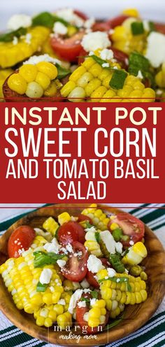 I love cooking corn on the cob in the Instant Pot because it turns out perfect every time, and it's so good in this summer salad! Corn, tomatoes, basil, green onions, and feta cheese pair with a vinaigrette to make a delicious side dish! #instantpot