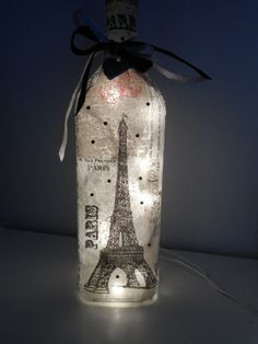 Paris Wine Bottle Lamp/Wine Bottle Light/ Paris Gifts/Wine Accessories/Wine Bottle Accent Lamp/Paris Decor/Eiffel Tower Decor/Night Light
