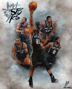 Tim Duncan, Kawhi Leonard, Tony Parker, Manu Ginobili and LaMarcus Aldridge aka the Amazing Spurs illustrated by artist Min-suk Kim from South Korea.