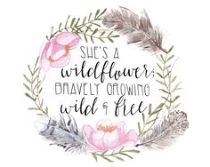 Shes a Wildflower Art Print is a boho-inspired watercolor art print. This specific art print was inspired by all those who are wild & free. It would be perfect in a nursery, added to a gallery wall, framed, or even pinned to your inspiration board. **Each art print is a print of my own original watercolor artwork.**  Details: - Printed onto 80 lb vellum white cardstock - Available in either 5 X 7 or 8 X 10 print - Each print is carefully packaged in a clear cellophane sleeve  Shipping: - ...