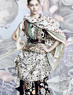dries van noten - ONDRIA HARDIN by Patrick Demarchelier for VOGUE JAPAN MARCH 2015