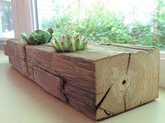 1870s Heart Pine Succulent Rectangular Planter / Reclaimed Wood / House Beam Planter