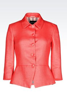 Emporio Armani Women 3/4 Sleeve Jacket - GODET JACKET WITH RAFFIA EFFECT Emporio Armani Official Online Store