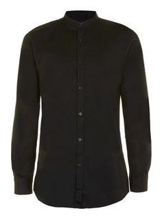 Black Longline Stand Collar Shirt