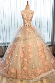 Beautiful lace appliqued champagne organza prom dress, ball gown 2017