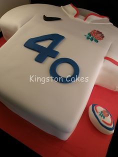 England Rugby Shirt Cake- my son would love this. England Rugby Shirt, Birthday Cakes, Birthday Ideas, Rugby Cake, Christening Cake Boy, Shirt Cake, Cakes For Boys, Celebration Cakes, 50th
