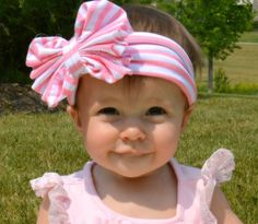 Baby & Girls Fashion Jersey Knit Pink Stripe Headband