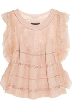 Delicate, beautiful, Isabel Marant Ojima ramie, lace and silk top | NET-A-PORTER