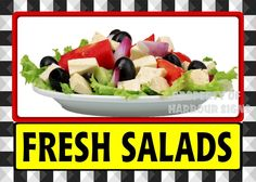 "Fresh Salads Decal 14"" Subs Deli Cater Market Restaurant Food Truck Concession #HarbourSign"