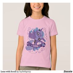 Luna with Scroll T-Shirt. Cute My Little Pony merchandise to personalize. #mylittlepony #mlp #giftideas #kids #birthday #personalize #shopping