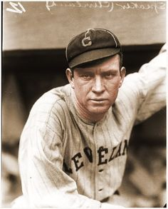 Hall of Fame center fielder Tris Speaker is pictured here in 1916 during his first season as a Cleveland Indian. He would lead the league in batting with a average to end Ty Cobb's run of twelve consecutive batting titles. Fsu Baseball, Best Baseball Player, Cleveland Indians Baseball, Baseball Helmet, Cardinals Baseball, Baseball Records, National Games, Batting Average, Baseball Pictures
