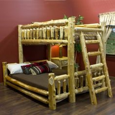Cedar Lake Leaning Ladder Log Bunk Bed
