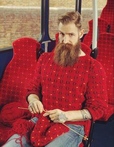 "And you wonder why my novel ""Subway Hitchhikers"" turns surreal? ... Sez he: ""I knit so much on public transit, perhaps I should try knitting sweaters to match the subway upholstery too!"""
