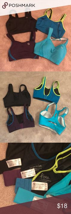 Moving Comfort sports bra bundle Moving Comfort sports bra bundle for size 32DD. Includes 2x Fiona's, 1x Jubralee and 1 Juno. All in used condition but still have a lot of life left in them! After 2 babies I don't think my boobs will ever fit in these again. Haha! Feel free to ask questions! Moving Comfort Intimates & Sleepwear Bras