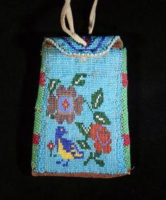 Vintage-Lakota-Sioux-Beaded-Leather-Pouch-Bag-Plains-Indiands-Beadwork