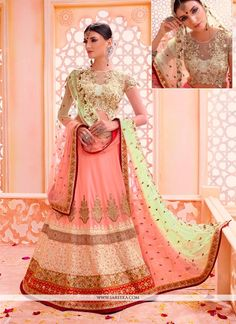 Add a small burst of shade for a wardrobe with this peach georgette a line lehenga choli. Beautified with embroidered and patch border work all synchronized properly with the pattern and style of the ...