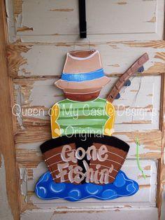 Gone Fishing Door Hanger by queensofcastles on Etsy, $40.00