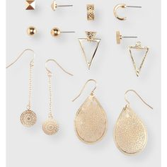 Aeropostale Pyramid Stud & French Wire Earring 6-Pack ($6) ❤ liked on Polyvore featuring jewelry, earrings, gold, dangle earrings, pyramid earrings, earring jewelry, triangle hoop earrings and fancy jewellery