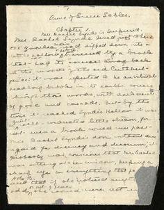 LMM's handwritten copy of the beginning of Anne of Green Gables