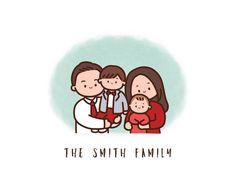Pencil Art Drawings, Doodle Drawings, Cartoon Drawings, Easy Drawings, Cartoon Art, Family Portrait Drawing, Family Drawing, Family Portraits, Outline Illustration