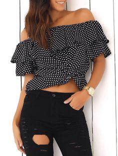 Blouses&Shirts | Polka Dot Flounce Off The Shoulder Blouse #summer #fashion #black #blouse