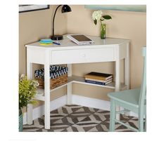 Corner Desk For Small Space Writing Home Office Kitchen Computer Laptop White #SimpleLiving #Contemporary