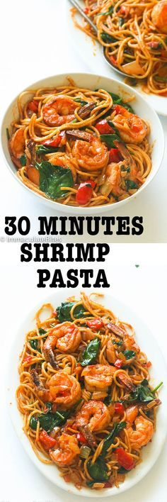Spicy shrimp tomato spinach pasta- An Easy 30 minute weeknight spaghetti dinner that delivers a huge punch of flavor with no cream and just a handful of ingredients: