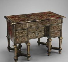 Small Desk (bureau brisé), Alexandre-Jean Oppenordt, 1639-1715  Oak, pine and walnut veneered with tortoiseshell; engraved brass, ebony and rosewood; bronze-gilt and steel  17th century (ca. 1685)