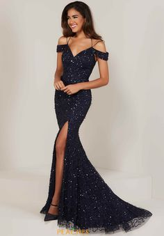 Tiffany Designs prom dresses create a sophisticated fairy tale look that will have you being the bell of the ball. Shop Formal Approach for our favorite Tiffany Designs styles! Shrug For Dresses, Sexy Dresses, Fashion Dresses, Formal Dresses, Prom Gowns Elegant, Navy Evening Dresses, Gown With Slit, High Slit Dress, Cold Shoulder Gown