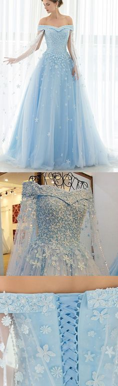 Blue Prom Dresses, Long Prom Dresses, Lace Prom Dresses, Light Blue Prom Dresses, Off The Shoulder Prom Dresses, Prom Dresses Blue, Prom Dresses Long, Prom dresses Sale, Light Blue dresses, Off The Shoulder dresses, Off Shoulder dresses, Lace Up Evening Dresses, Applique Prom Dresses, Sweep Train Prom Dresses, Off-the-Shoulder Prom Dresses
