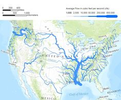 Average Flow of Continental US Rivers (in cfs)
