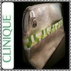 Clinique Cosmetic Travel Pouch Clinique Cosmetic Case in Metallic Silver & Apple Color Combination, C Logo Zipper Pull.   Fully Lined, Zipper Top Closure, PVC Material,  Front Exterior Slip Compartment, Mint Condition Clinique Bags