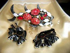 Schreiner glass fish brooch with Schreiner earrings