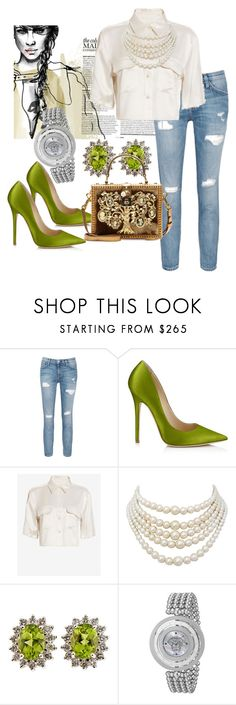 """""""A Touch Of Green"""" by saturn198132 on Polyvore featuring Current/Elliott, Jimmy Choo, Equipment, Christian Dior, Versace and Dolce&Gabbana"""