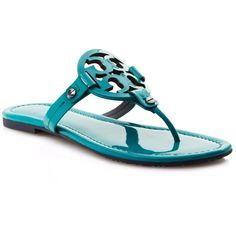 Tory Burch Flat Thong Sandals - Miller Patent ($195) ❤ liked on Polyvore featuring shoes, sandals, patent sandals, slip-on shoes, toe post sandals, patent leather flat sandals and shiny shoes
