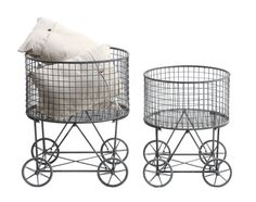 Wire Hamper with Wheels | Wild Bliss > Metal vintage laundry baskets with wheels -CC