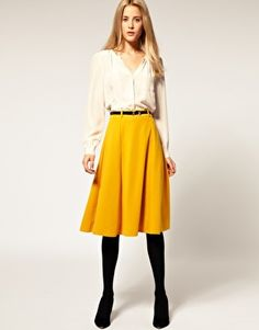 ASOS Midi Tailored Belted Ponti Fit and Flare Skirt
