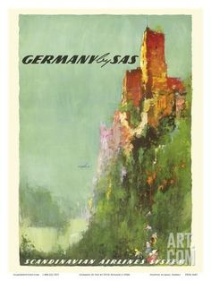 Germany - Rhine River Valley Castle - SAS Scandinavian Airlines System Art Print by Otto Neilsen at Art.co.uk