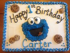 Cookie monster Cookie Monster Cakes, Monster Smash Cakes, Monster Birthday Cakes, Monster 1st Birthdays, Birthday Sheet Cakes, Monster Birthday Parties, Elmo Birthday, Baby First Birthday, First Birthdays