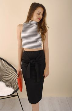 Samia Midi Length Skirt with Tie Detail - Ajoy Levora