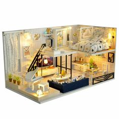 Romantic cute mini toy house set creative room DIY Dollhouse Miniature Kit Diy House Time Shallow Cover Tape Creative Manual Assembly Building Model V Dollhouse Kits, Wooden Dollhouse, Miniature Dollhouse, Wooden Dolls, Miniature Rooms, Miniature Furniture, Wooden Furniture, Bedroom Furniture, Furniture Ideas