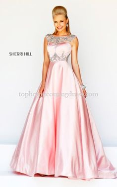 A Line Sherri Hill 21248 Beaded Blush Prom Dress