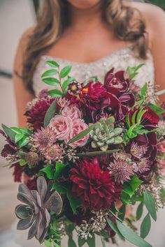 Burgundy and blush with succulents, dahlias, orchids, roses and astrantia.  Flowers by Tami McAllister | Photo by Peach and Oak Photography