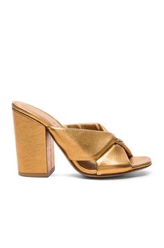 Image 1 of ALUMNAE Soft X-Slide Block Heel Sandal in Bronzo