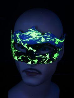 "Schwarzlicht Psywork Maske Colombina Punta ""Yellow Horizon"" #blacklight #schwarzlicht #psy #neon #party #karnevall #fasching #mask #magic #marble #halloween"
