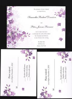 Orchid wedding invitations and purple :)